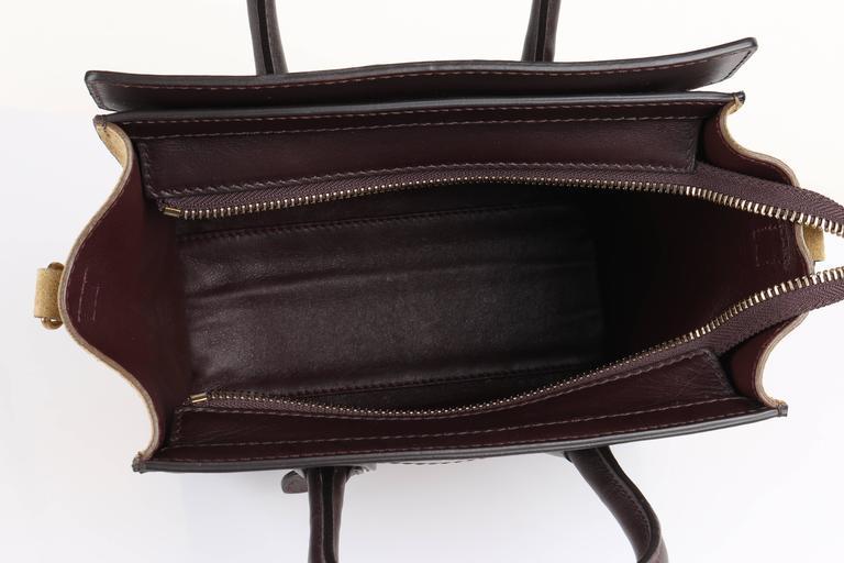 CELINE Dark Brown Olive Genuine Python Suede Nano Luggage Tote Handbag Purse For Sale 3