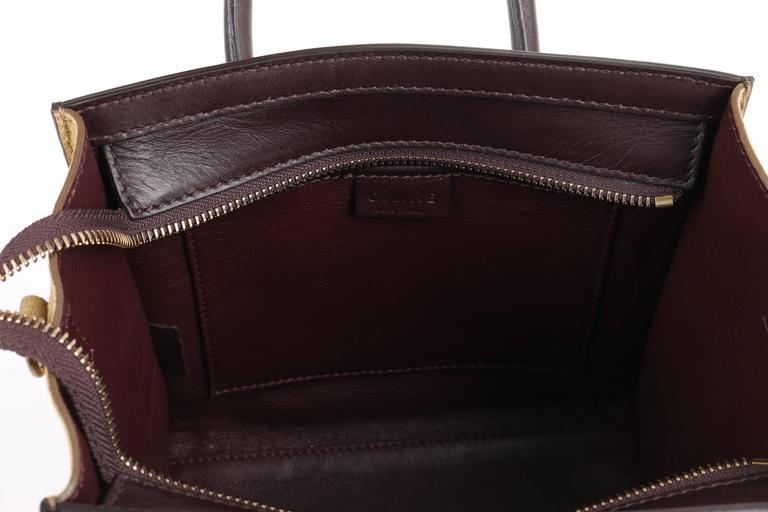CELINE Dark Brown Olive Genuine Python Suede Nano Luggage Tote Handbag Purse For Sale 4