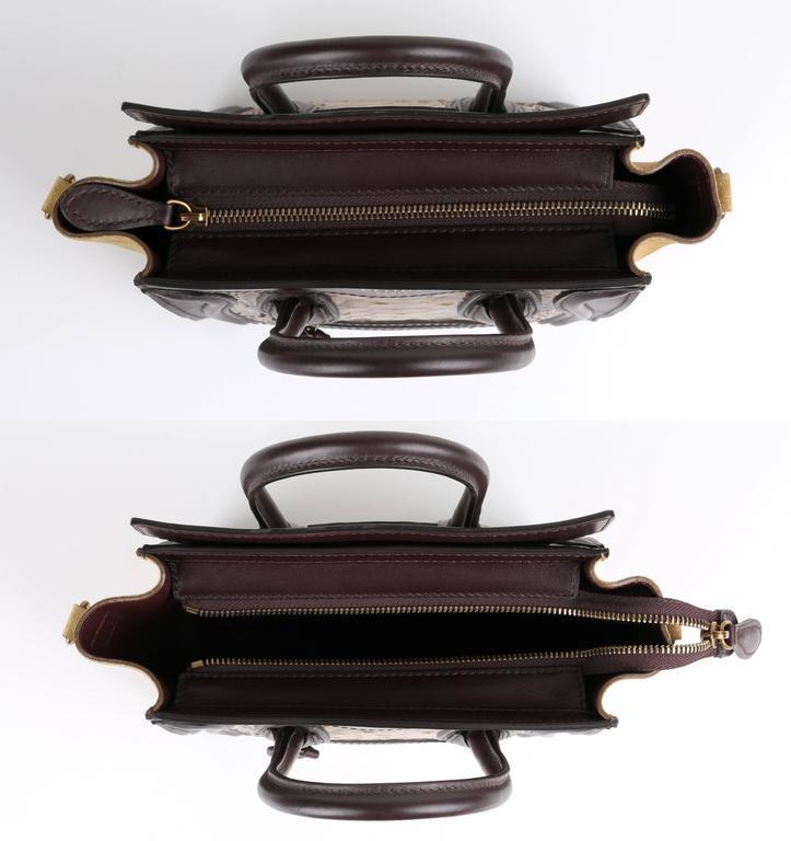 CELINE Dark Brown Olive Genuine Python Suede Nano Luggage Tote Handbag Purse For Sale 1