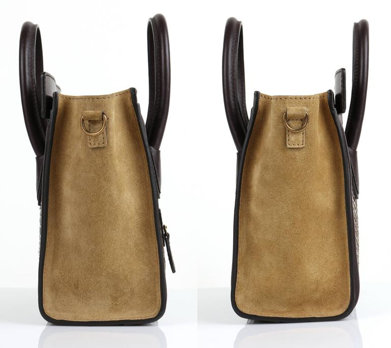 CELINE Dark Brown Olive Genuine Python Suede Nano Luggage Tote Handbag Purse In New Condition For Sale In Thiensville, WI