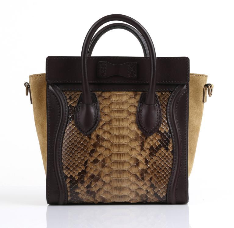 Black CELINE Dark Brown Olive Genuine Python Suede Nano Luggage Tote Handbag Purse For Sale