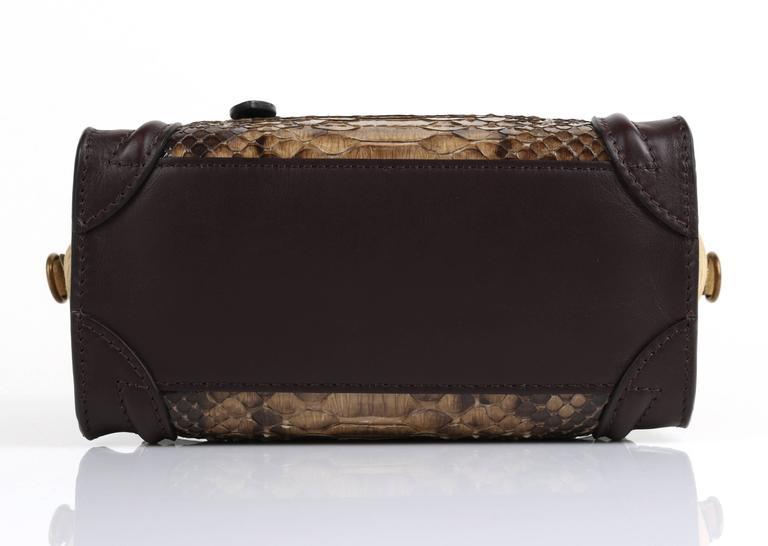Women's CELINE Dark Brown Olive Genuine Python Suede Nano Luggage Tote Handbag Purse For Sale