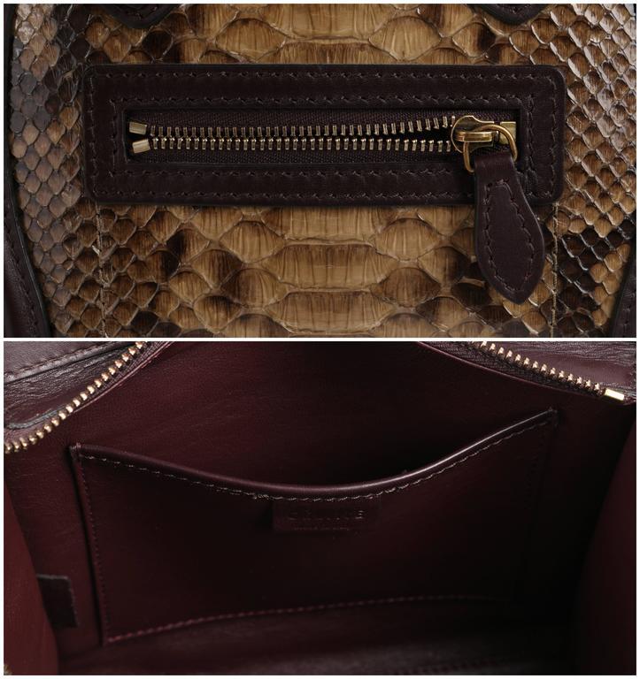 CELINE Dark Brown Olive Genuine Python Suede Nano Luggage Tote Handbag Purse For Sale 2