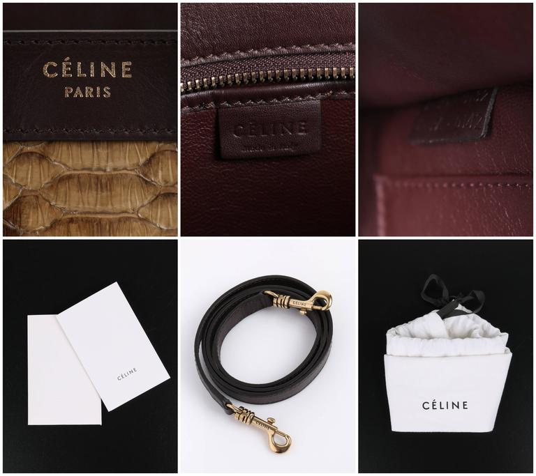 CELINE Dark Brown Olive Genuine Python Suede Nano Luggage Tote Handbag Purse For Sale 5