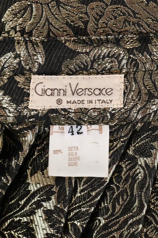 GIANNI VERSACE A/W 1983 Gold Black Floral Silk Lame Skirt Size 42 NOS NWT For Sale 4