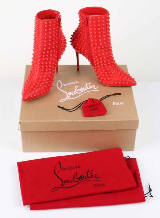 "CHRISTIAN LOUBOUTIN ""Snakilta"" Corazon Red Spike Leather Ankle Boots Booties 36 5"