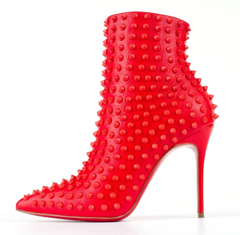 "CHRISTIAN LOUBOUTIN ""Snakilta"" Corazon Red Spike Leather Ankle Boots Booties 36 3"