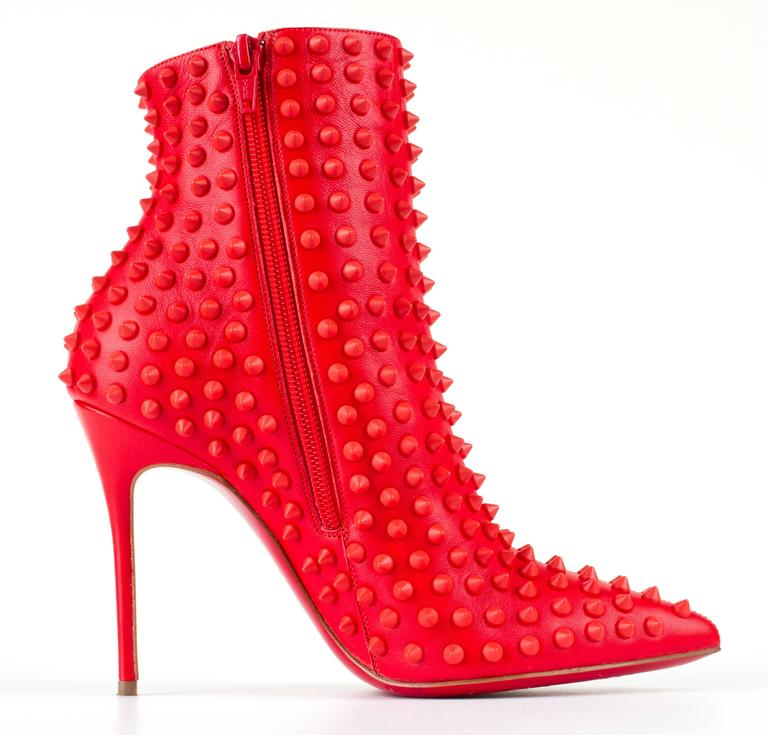 "CHRISTIAN LOUBOUTIN ""Snakilta"" Corazon Red Spike Leather Ankle Boots Booties 36 4"