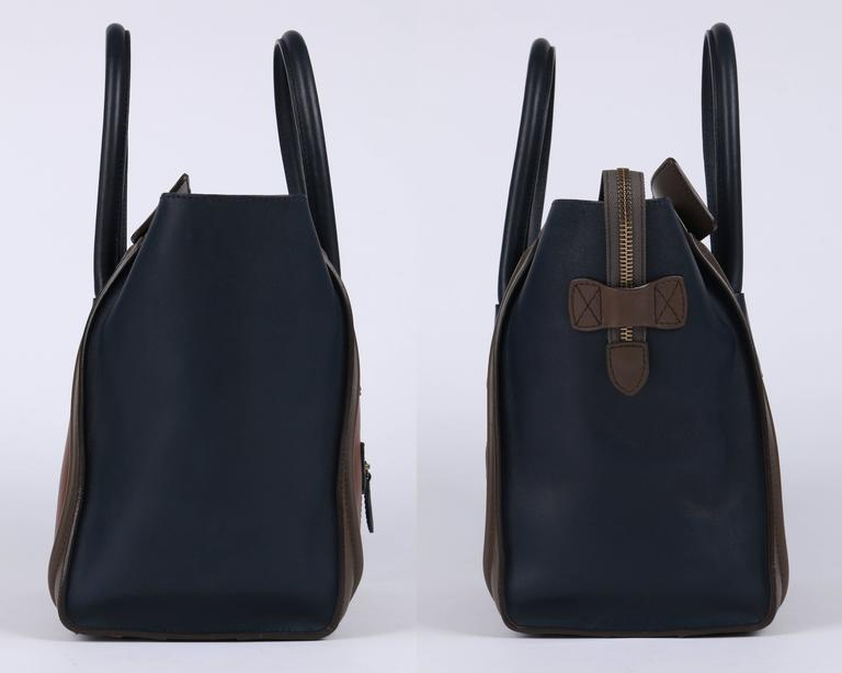 "CELINE Tricolor ""Mini Luggage Tote"" Phoebe Philo Navy Blue Brown Leather Handbag 3"