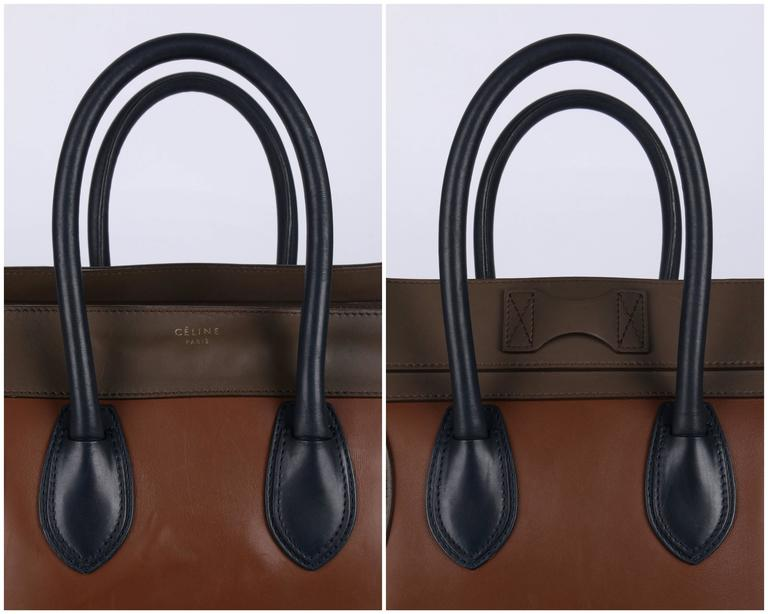 "CELINE Tricolor ""Mini Luggage Tote"" Phoebe Philo Navy Blue Brown Leather Handbag 5"