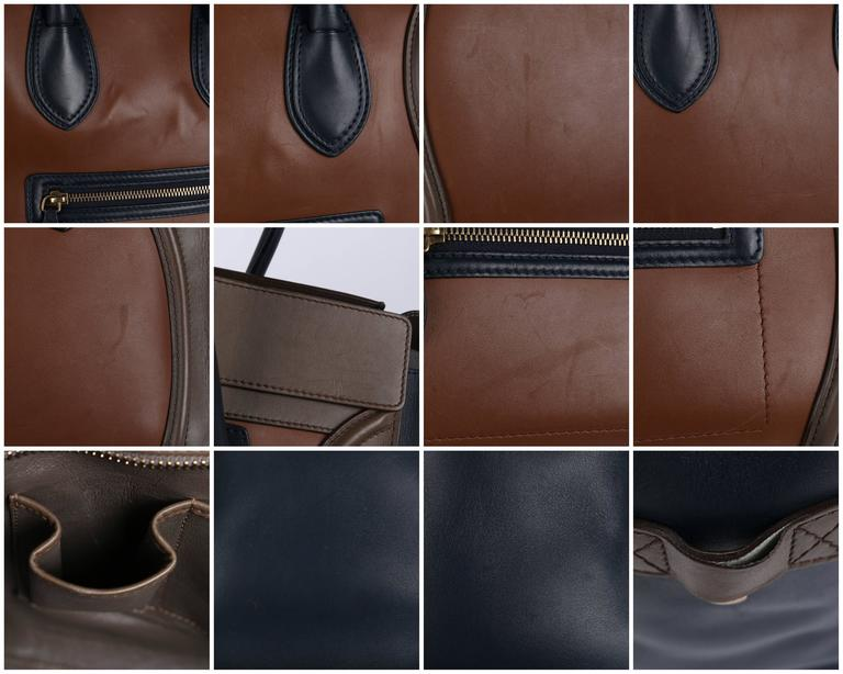 "CELINE Tricolor ""Mini Luggage Tote"" Phoebe Philo Navy Blue Brown Leather Handbag 9"