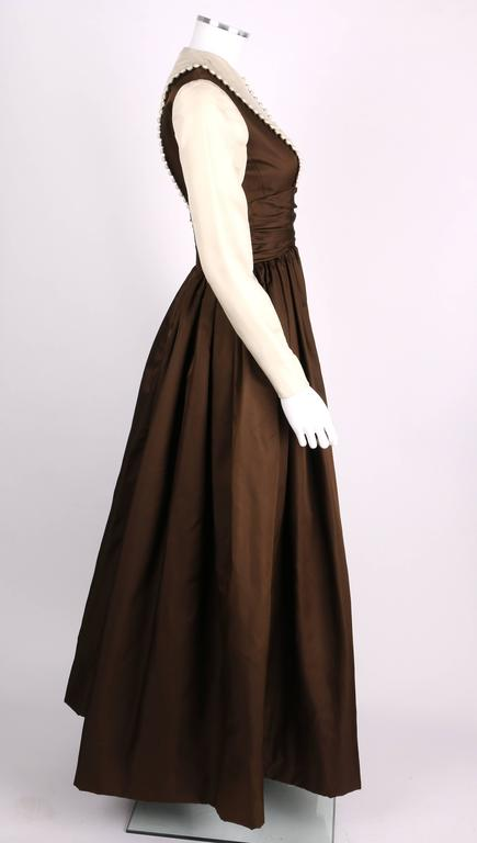 GEOFFREY BEENE A/W 1968 Brown Winter White Silk Faille Evening Gown Dress 3