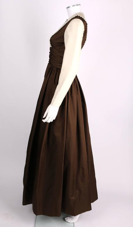 GEOFFREY BEENE A/W 1968 Brown Winter White Silk Faille Evening Gown Dress 5