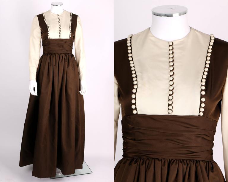 GEOFFREY BEENE A/W 1968 Brown Winter White Silk Faille Evening Gown Dress 2
