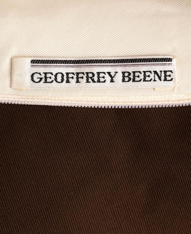 GEOFFREY BEENE A/W 1968 Brown Winter White Silk Faille Evening Gown Dress 10