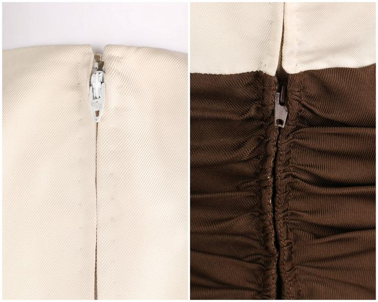 GEOFFREY BEENE A/W 1968 Brown Winter White Silk Faille Evening Gown Dress 8