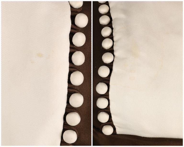 GEOFFREY BEENE A/W 1968 Brown Winter White Silk Faille Evening Gown Dress 9