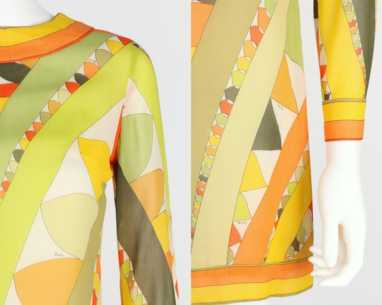 EMILIO PUCCI 1960s Lime Green Citrus Signature Print Long Sleeve Silk Dress Sz 6 For Sale 4