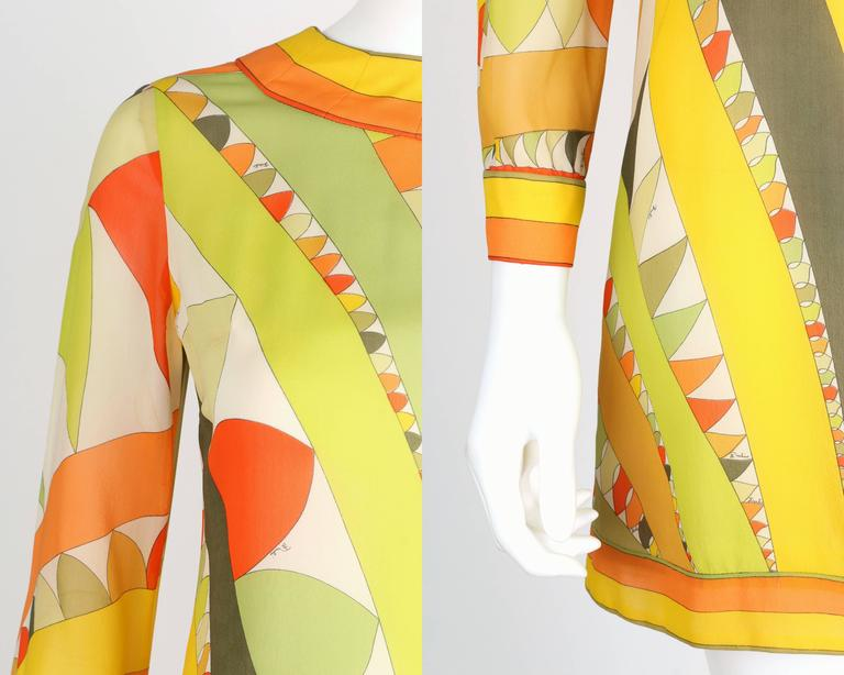 EMILIO PUCCI 1960s Lime Green Citrus Signature Print Long Sleeve Silk Dress Sz 6 For Sale 3