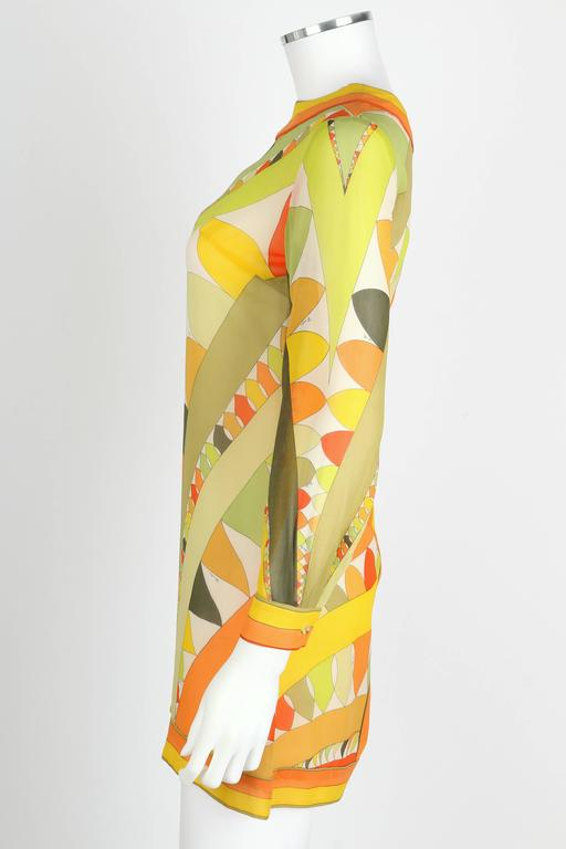 EMILIO PUCCI 1960s Lime Green Citrus Signature Print Long Sleeve Silk Dress Sz 6 For Sale 1
