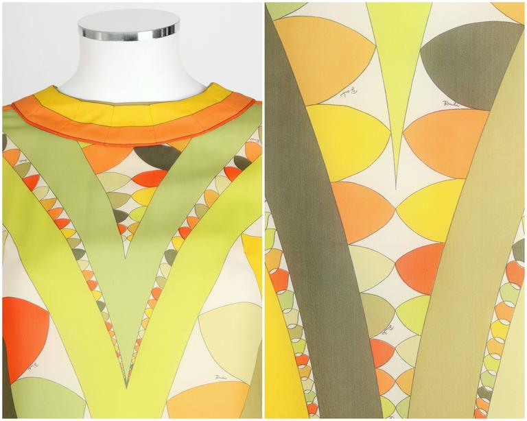 EMILIO PUCCI 1960s Lime Green Citrus Signature Print Long Sleeve Silk Dress Sz 6 For Sale 2