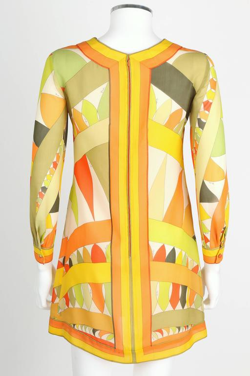 Women's EMILIO PUCCI 1960s Lime Green Citrus Signature Print Long Sleeve Silk Dress Sz 6 For Sale