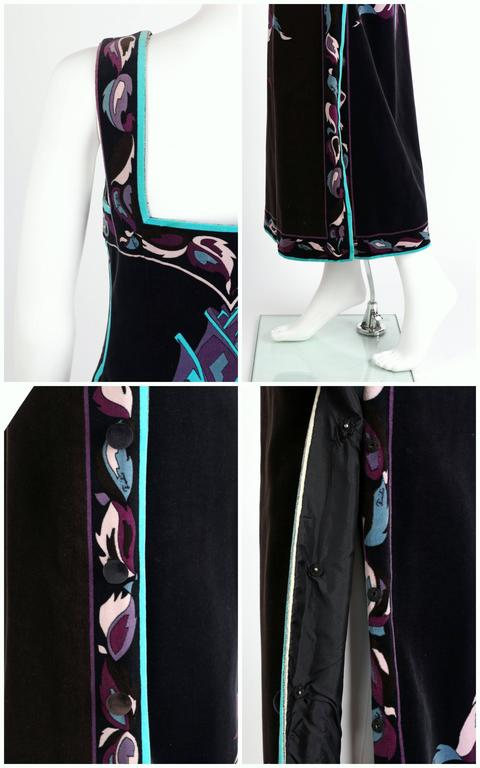 EMILIO PUCCI 1960s Multicolor Rose Print Sleeveless Velvet Maxi Dress Size 10 9