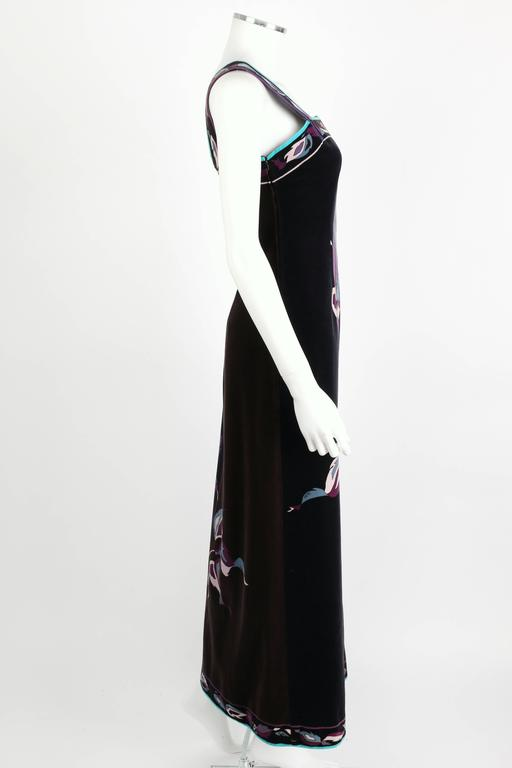EMILIO PUCCI 1960s Multicolor Rose Print Sleeveless Velvet Maxi Dress Size 10 3