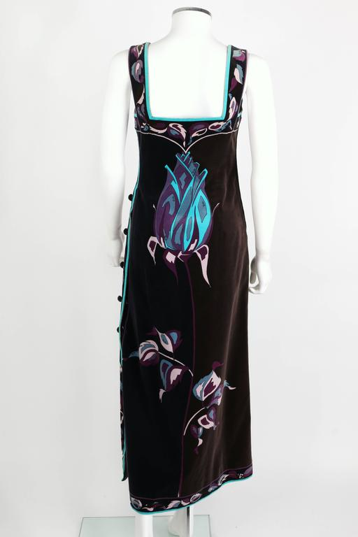 EMILIO PUCCI 1960s Multicolor Rose Print Sleeveless Velvet Maxi Dress Size 10 4