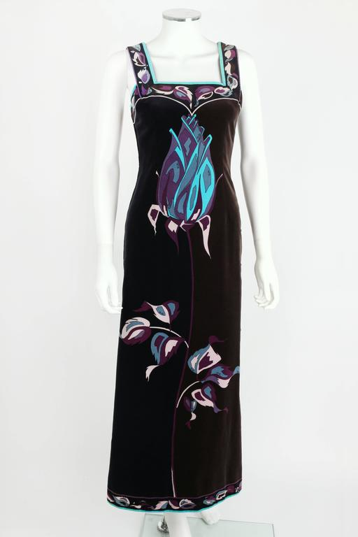 EMILIO PUCCI 1960s Multicolor Rose Print Sleeveless Velvet Maxi Dress Size 10 2