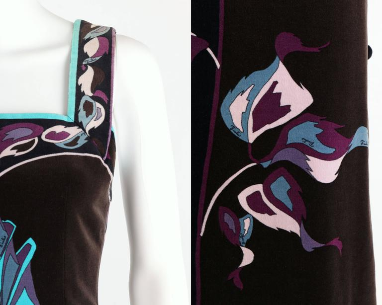 EMILIO PUCCI 1960s Multicolor Rose Print Sleeveless Velvet Maxi Dress Size 10 8