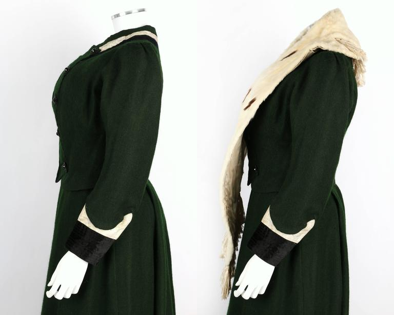 Women's 1900s Victorian Edwardian Wool Winter Suit Fur Stole Ice Skating Ensemble For Sale