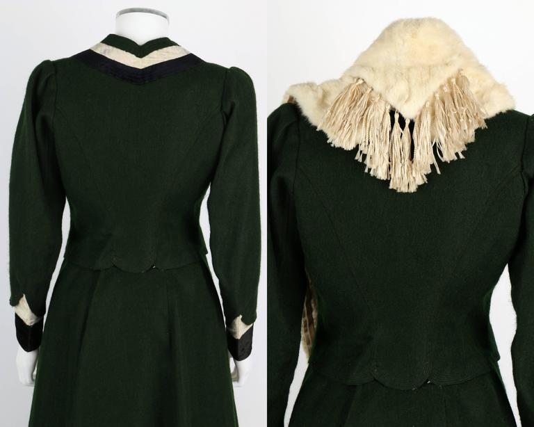 1900s Victorian Edwardian Wool Winter Suit Ermine Fur