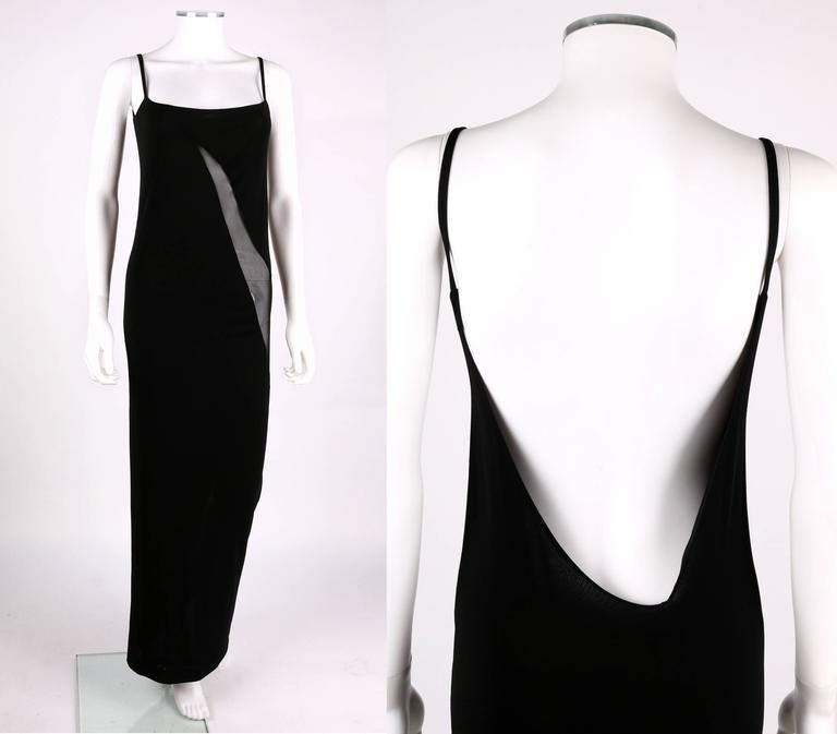 Gucci Tom Ford C1990s Black Sheer Panel Low Cut Back Evening