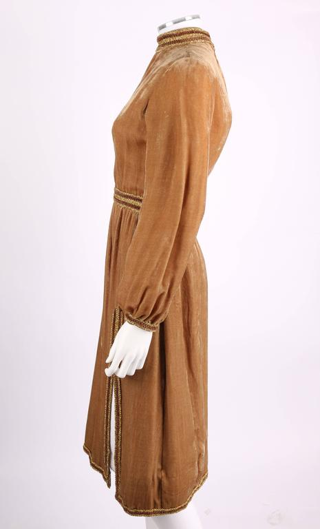 1960s OSCAR DE LA RENTA Velvet Golden Bronze Long Bishop Sleeve Dress Size 14 5