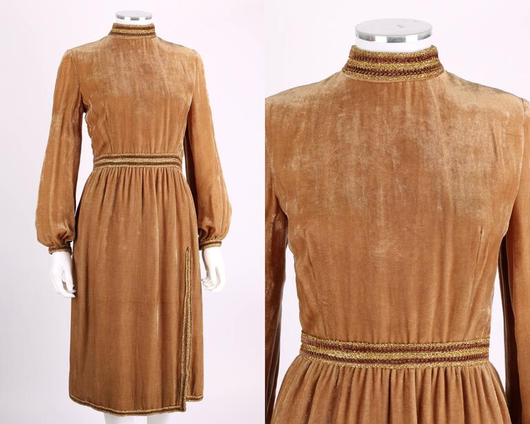 1960s OSCAR DE LA RENTA Velvet Golden Bronze Long Bishop Sleeve Dress Size 14 2
