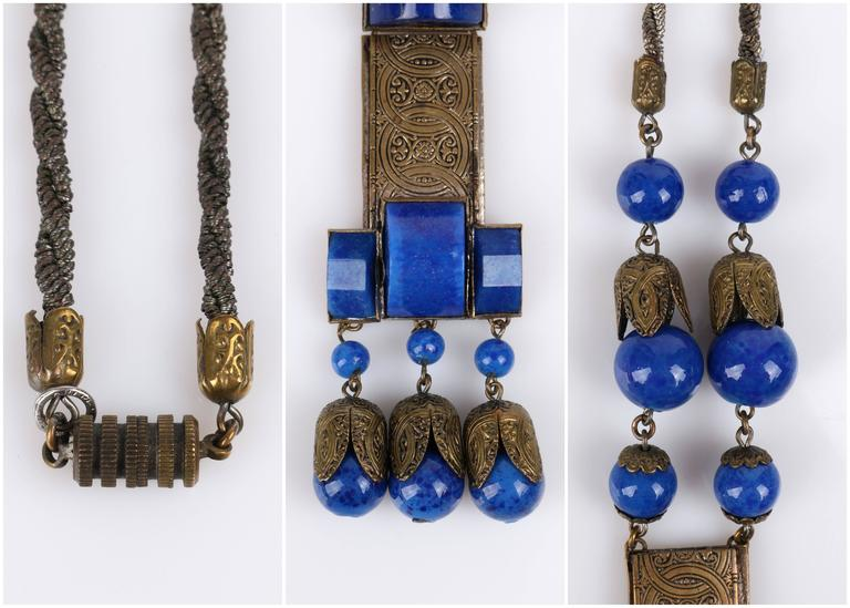 1920s Czech Art Deco Blue Lapis Glass Etched Brass Sautoir Pendant Necklace 9