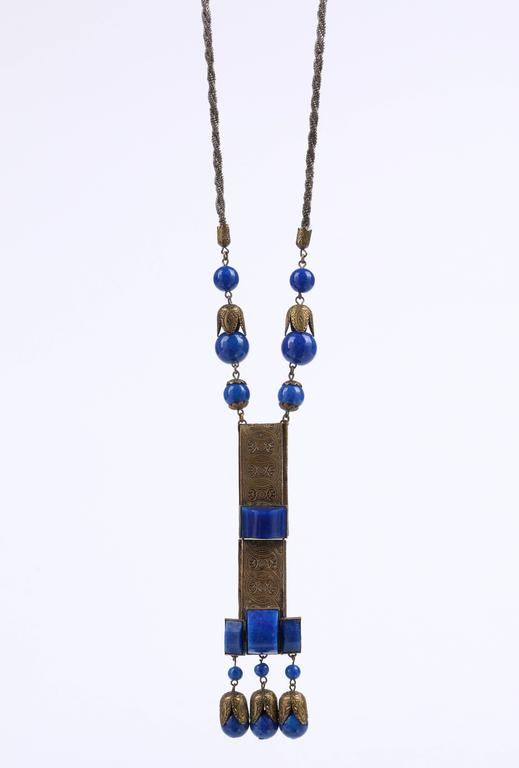 1920s Czech Art Deco Blue Lapis Glass Etched Brass Sautoir Pendant Necklace 3