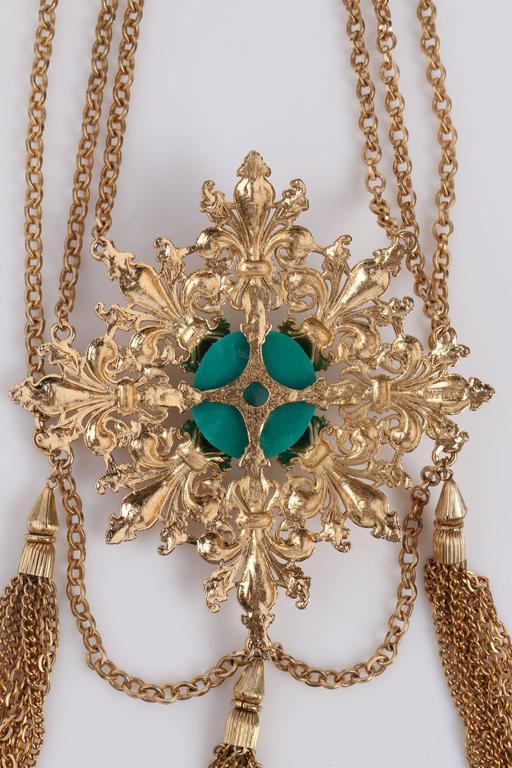 Napier 1970s Gold Fleur De Lis Baroque Medallion Pendant