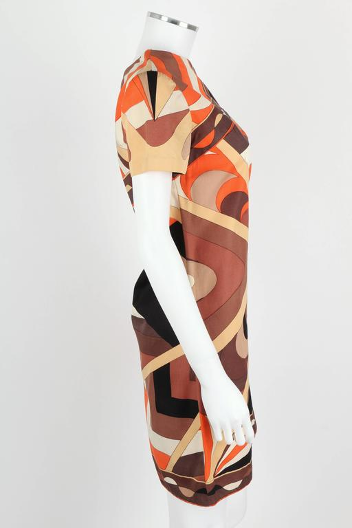 EMILIO PUCCI 1960s Brown Op Art Signature Print Short Sleeve Shift Dress Size 10 3