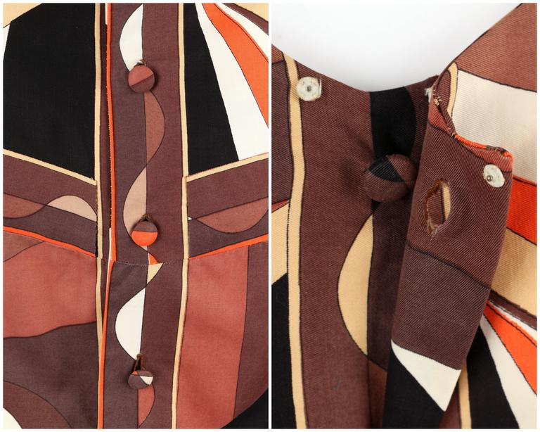 EMILIO PUCCI 1960s Brown Op Art Signature Print Short Sleeve Shift Dress Size 10 9