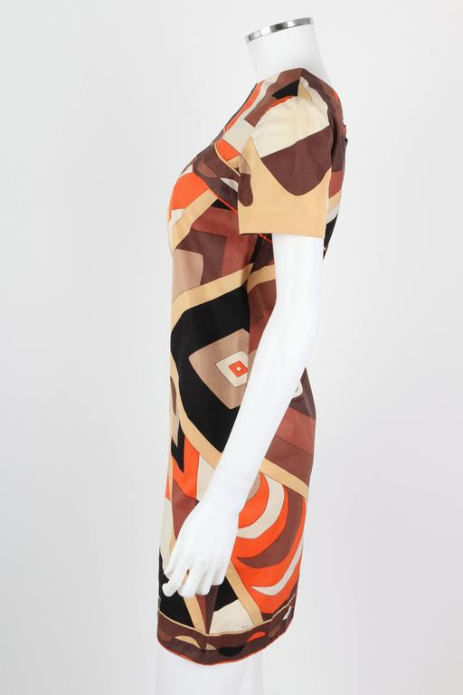 EMILIO PUCCI 1960s Brown Op Art Signature Print Short Sleeve Shift Dress Size 10 5
