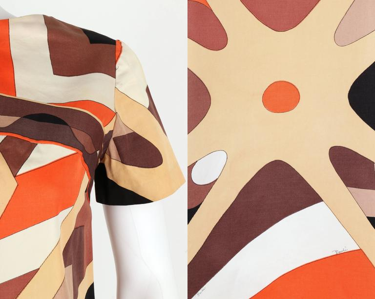 EMILIO PUCCI 1960s Brown Op Art Signature Print Short Sleeve Shift Dress Size 10 8