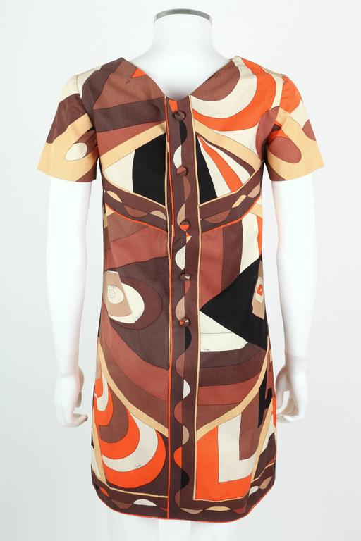 EMILIO PUCCI 1960s Brown Op Art Signature Print Short Sleeve Shift Dress Size 10 4