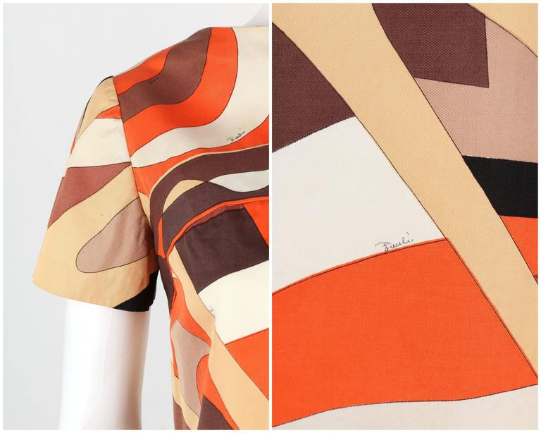 EMILIO PUCCI 1960s Brown Op Art Signature Print Short Sleeve Shift Dress Size 10 7