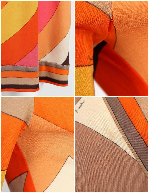 EMILIO PUCCI c.1960s Orange Abstract Signature Print Jersey V-Neck Dress Size 10 For Sale 5