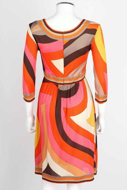 Women's EMILIO PUCCI c.1960s Orange Abstract Signature Print Jersey V-Neck Dress Size 10 For Sale