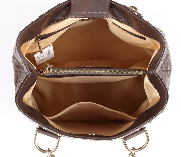 GIANNI VERSACE Couture Brown Quilted Leather Gold Hardware Handbag Purse NWT 5