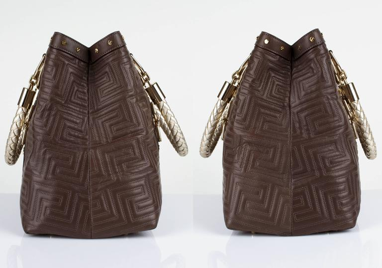 GIANNI VERSACE Couture Brown Quilted Leather Gold Hardware Handbag Purse NWT 3
