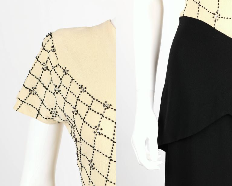 PARAMOUNT JUNIOR 1940s Black Ivory Spider Web Crepe Peplum Bow Cocktail Dress 7